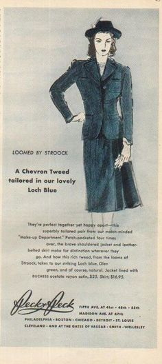 1939 Peck Womens Clothing Store New York~Tweed Jacket Skirt~30s Fashion Ad in | eBay