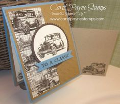 """stamp the car image with Early Espresso ink, stamping again, and again, """"huffing"""", not blowing,  on the stamp each time to re-moisten the remaining ink to get the lighter images. stamp a piece of Typset Specialty Designer Series Paper, but you could use the same technique with plain Very Vanilla card stock to get the """"custom designer paper"""" look!"""