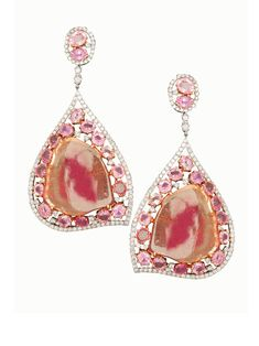 Tourmaline Sapphire and Diamond Earrings - London Collection 18k White and Rose Gold Tourmaline Sapphire and Diamond Drop Earrings