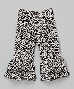 Another great find on #zulily! White Snow Leopard Ruffle Pants - Toddler & Girls by Ruby and Rosie #zulilyfinds