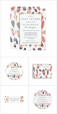 Bohemian Feathers Pattern Baby Shower