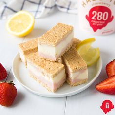 YIELDS 10 BARS  Ingredients:  20 whole graham crackers 1 pint of Halo Top Strawberry 1 pint of Halo Top Lemon Cake  Directions:    1. Line a baking dish with parchment paper (we recommend something that       has tall sides to keep the bars in place).    2. Place one layer of graham crack