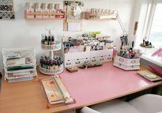 Anna Sigga scrapbook room via www.craftstorageideas.com....so bright and cheerful.