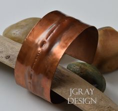 Copper Cuff Air Chasing Foldform.  Heat Patina Wax by JGrayDesign