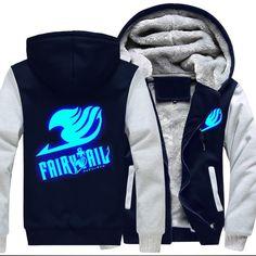 Fairy Tail Costume Guild logo lumineux Unisexe Veste à capuche Manteau Noir Tops