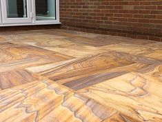 Rainbow Sandstone creates a stunning patio space with its unique colouring. Available as a Patio Kit for random laying. Indian Sandstone Paving Slabs, Garden Paving, Garden Landscaping, Patio Kits, Halle, Paving Stones, Garden Projects, Garden Ideas, Diy Garage
