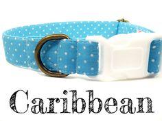 Ocean Blue Polka Dot Dog Collar  Organic Cotton  by veryvintage