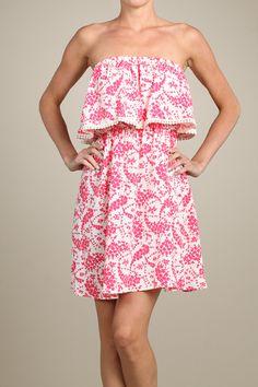 Strapless Short Mini Sundress - Hot Pink