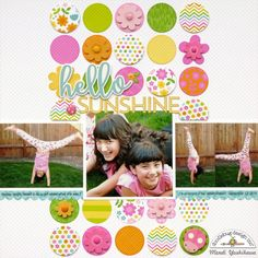 Doodlebug Hello Spring Garden Layout by Mendi Yoshikawa - Punch circles from various patterned papers to use as a background for your layout. Great way to use up scraps AND use lots of patterns on one layout without overwhelming your photos!