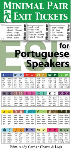Minimal Pair Exit Tickets for Portuguese Speakers comes with charts, assessment logs, and print files for 24 minimal pair activities. With this set you'll have a flexible resource to assess and chart your students' English pronunciation.