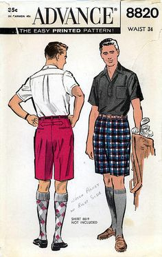 1950s Mens Bermuda Shorts Vintage Sewing Pattern, Summer Fashion, Golf Shorts