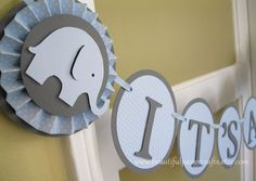 Baby Blue and Grey It's a Boy - Baby Elephant Banner - Elephant Baby Shower Decorations - Custom Name Banner  - Custom Colors. $28.00, via Etsy.