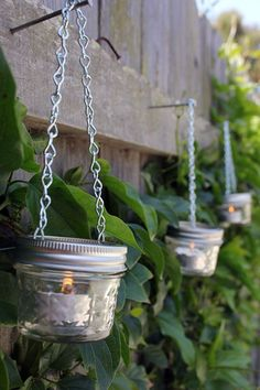 Mason Jar Hanging Lanterns | This would really look lovely in your garden - www.diyready.com