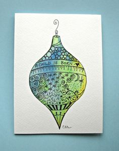 Watercolor card, ( No.503), Christmas ornament, greeting card, Christmas, ornament, holiday, original art,blank inside