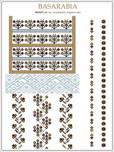 Semne Cusute: iie din BASARABIA - model (12) Embroidery Sampler, Folk Embroidery, Learn Embroidery, Embroidery Stitches, Embroidery Patterns, Cross Stitch Patterns, Knitting Patterns, Butterfly Embroidery, Riviera Maya