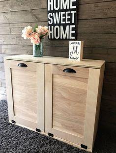 tilt out trash double bin unfinished DIY **For recycling & cans** Trash Can Cabinet, Birch Cabinets, Diy Rangement, Can Storage, Flour Storage, Bois Diy, Diy Kit, Garbage Can, Trash Bins