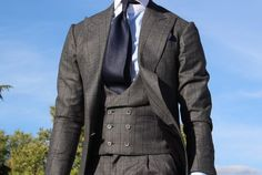 Textured Wool Peak Lapel 3 piece  *Notice Double Breasted Shawl Lapel Vest*