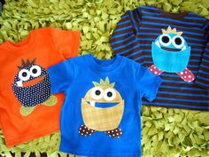 Super cute ideas for decorating plain tees (both boy and girl stuff).  Not a tutorial, FYI