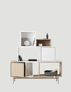 The STACKED system provides a storage solution with endless possibilities. With the use of small clips, the modules can be rearranged to create diversified varieties of shelving set ups, room dividers, or side tables. The design can be easily changed by playing around with the space between the modules or mounting them directly onto the wall.