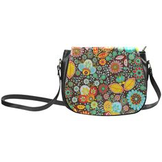 Red Yellow Aqua Vintage Floral Pattern Classic Saddle Bag/Small (Model 1648)
