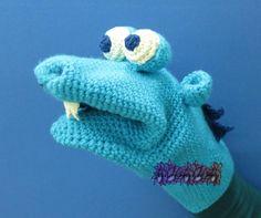 Marioneta dragón azul a crochet