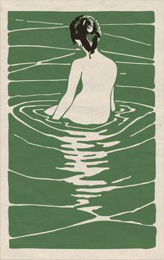 "woman naked green water ""illustration"", ""ilustracion"", ""print"" - sotobosques"