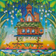 House on the water and sunrise ☀️ ☀Magical jungle☀️#johannabasford #magicaljungle #magicaljunglecoloringbook #johannabasfordmagicaljungle #adultcoloring #adultcoloringbook #coloringforadult #coloringbook #prismacolor #prismacolorpremier #sunrise