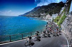The peloton hugs the stunning Amalfi Coast on its way from Sorrento to Marina di Ascea.