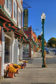 Main Street in Ellsworth, Maine. I spent all of my working at the Grasshopper shop and Cleonice Mediterranean Bistro. Maine New England, New England States, Maine In The Fall, Architecture Design, Small Town America, North America, Small Town Girl, New Hampshire, Main Street