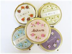 Personalized compact mirror with stumpwork flower hand embroidery