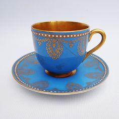 Royal Worcester Blue Beaded Cup and Saucer