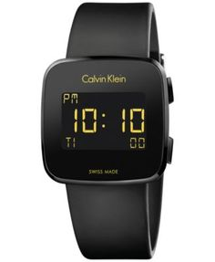 Calvin Klein Men's Swiss Digital Future Black Rubber Strap Watch 39mm K5C214D1 | macys.com