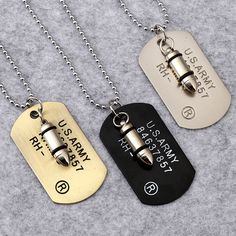 wholesale price hip hop Stainless steel Jewelry U.S. Army Style Bullet Dog Tag Pendants Men women USA America soldier Necklaces | Dream Jewelry Place. Find Earring, Necklace, Rings and More.