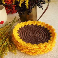Give your mom or grandma a gift they won't forget. Give something unique and handmade and always memorable like Crochet Sunflower Coasters designed by me. Crochet Yellow Sunflower Coasters are the PERFECT GIFT: Especially for your mom and grandma because they love flowers! For teachers too and of course for coffee and tea lovers, it is a great housewarming gift. They are big enough for your favorite mug or a small morning bowl! DIAMETER: 5,4inch/14cm Set of 2
