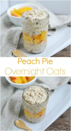 Peach Pie Overnight Oats. Whip these up tonight and breakfast will be ready when you wake up! Dairy free, gluten free and vegan friendly!
