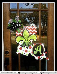 Christmas Door Hanger, Whimsical Christmas Wreath, Louisiana Christmas, State Door Hanger, Monogram Door Hanger, State Cutout Christmas