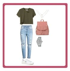 """""""Perfect outfit for college!"""" by jenimarrivera on Polyvore featuring H&M, Lacoste, TOMS and Rolex"""