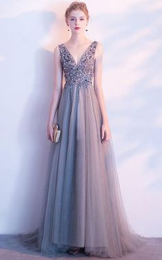 Prom Dress Princess, Gray v neck beaded tulle long prom dress, gray evening dress Shop ball gown prom dresses and gowns and become a princess on prom night. prom ball gowns in every size, from juniors to plus size. Pageant Dresses For Teens, 2 Piece Homecoming Dresses, Elegant Bridesmaid Dresses, Sequin Prom Dresses, V Neck Prom Dresses, Tulle Prom Dress, Cute Dresses, Party Dress, Party Gowns