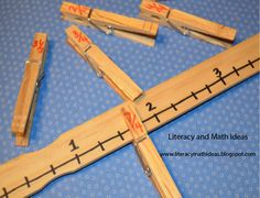 Paint stick number lines~ A great way to teach the Common Core fraction link does not work, but pretty straight forward. Use paint sticks and write a number line on them, then use clip clothespins with fractions on on the n Teaching Fractions, Math Fractions, Teaching Math, Ordering Fractions, Equivalent Fractions, Teaching Ideas, Dividing Fractions, Math Manipulatives, Decimal