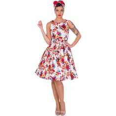 Annie Retro Swing Dress in Floral White
