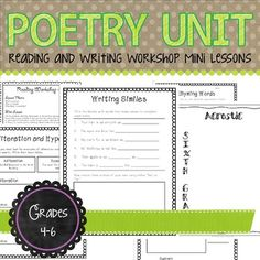 Poetry Unit for Reading and Writing Workshop   Distance Learning