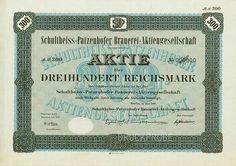 HWPH AG - Historische Wertpapiere - Schultheiss-Patzenhofer Brauerei-AG Berlin, Juni 1928, Muster einer Aktie über 300 RM, nullgeziffert