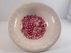 Vintage Harvest USA Red Fruit and Berry Bowl by CrowsCollection on Etsy