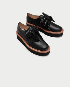 PLATFORM DERBY SHOES WITH BOW-Flat Shoes-SHOES-WOMAN | ZARA United Kingdom