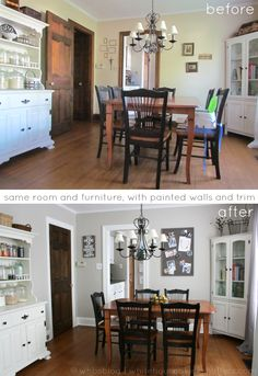 Love the paint colors for this room. They painted the walls an updated greige (MS Sharkey Gray) and the trim white (Valspar Bistro White), and added larger, more cohesive wall art. Black Shutters, Interior Shutters, Interior Trim, Painting Wood Trim, Painting Burlap, Kitchen Paint Colors, White Trim, Gray Trim, Trim Color