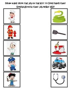 Match Community Helpers to their tools by Early Childhood Resource Center Preschool Lesson Plans, Preschool Learning Activities, Preschool Printables, Kindergarten Worksheets, Infant Activities, Space Activities, Community Helpers Worksheets, Community Helpers Preschool, Community Workers