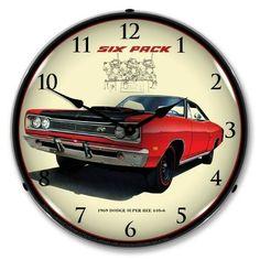 Dodge Challenger Demon SRT Black Neon Lighted Clock w// Red Illumination