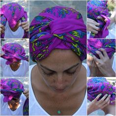 Voila, you've just made a turban! You can also create a turban-like headband using a rectangular scarf by repeating the same steps without covering all of your hair. Don't forget the double twist and happy wrapping! Tie A Turban, Turban Style, Head Turban, Turban Headbands, Ways To Wear A Scarf, How To Wear Scarves, Turban Tutorial, Diy Scarf, Bad Hair Day