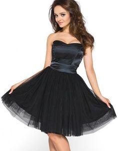 Koktajlowa sukienka z tiulu na wesele Km114 czarny