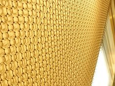 Under the soft lamp light, ring mesh curtain reflects the lamp light color.